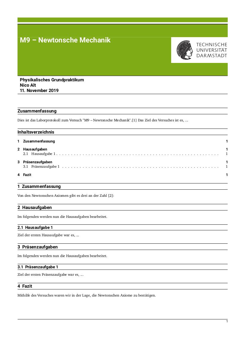 Titelseite der Grundpraktikumsvorlage