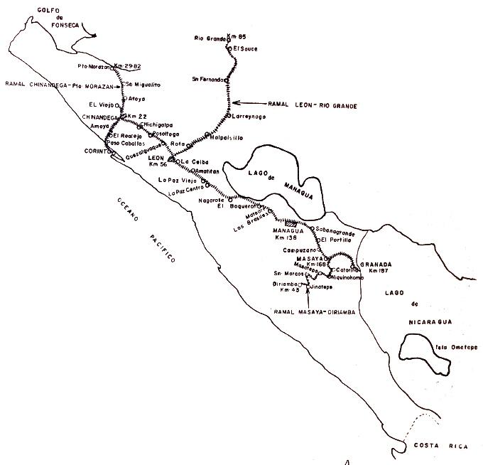 Das nicaraguanische Eisenbahnnetz an der Pazifikküste im Juni 1959