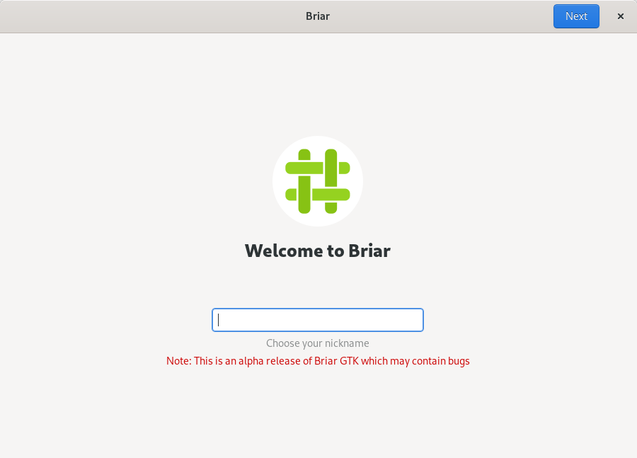 Briar GTK on registration page