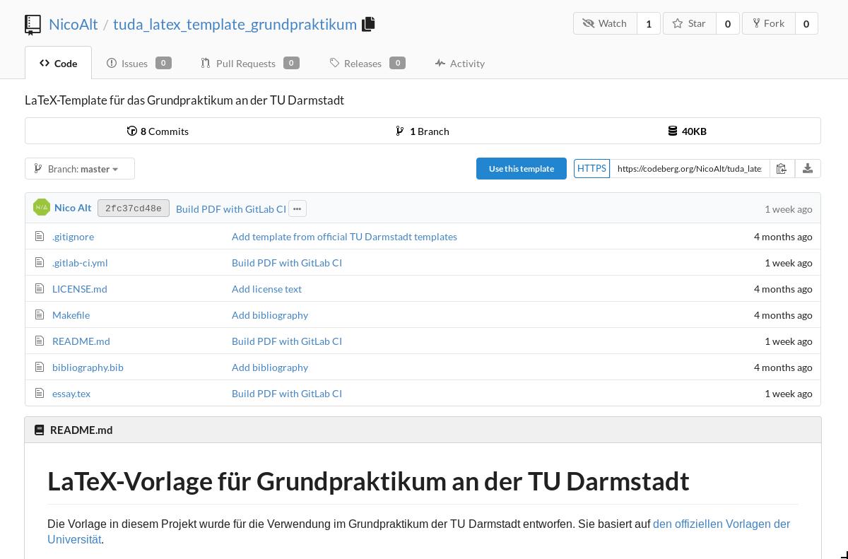 Screenshot von https://codeberg.org/NicoAlt/tuda_latex_template_grundpraktikum, das eine Liste aller Dateien zeigt