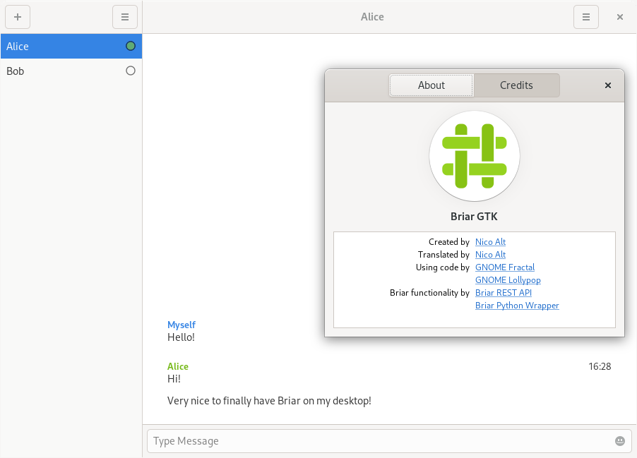 screenshot of Briar GTK running on GNOME next to Briar Android